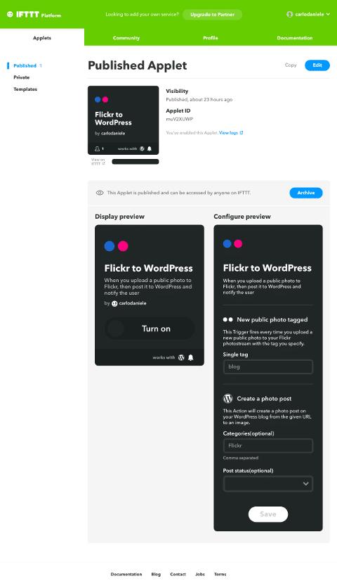 La página publicada del Applet muestra las previsualizaciones del mismo