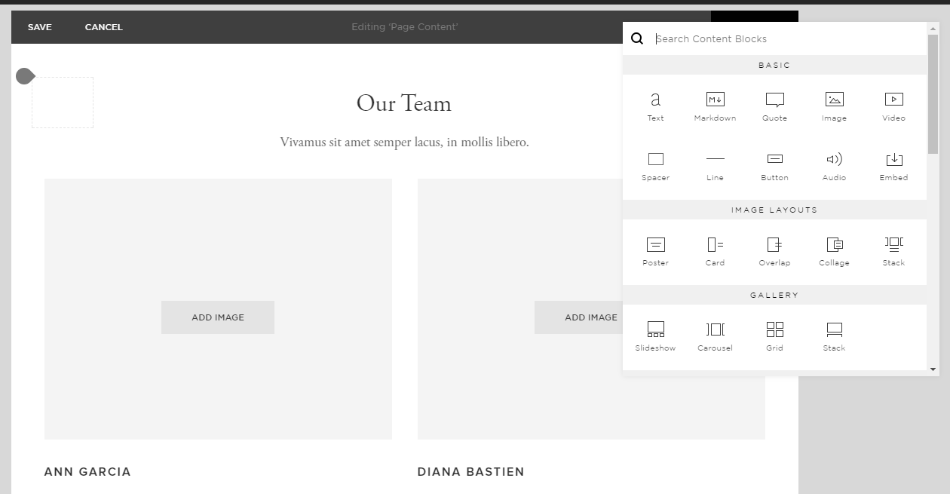 Building a page with Squarespace drag and drop editor