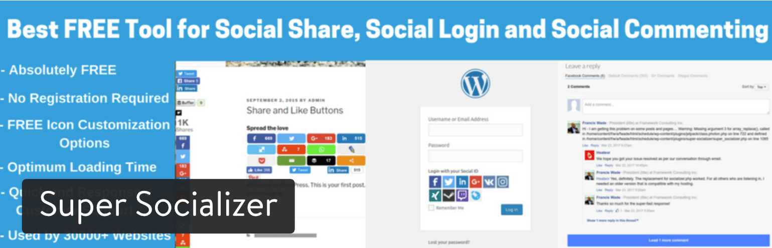 social media plugin wordpress free