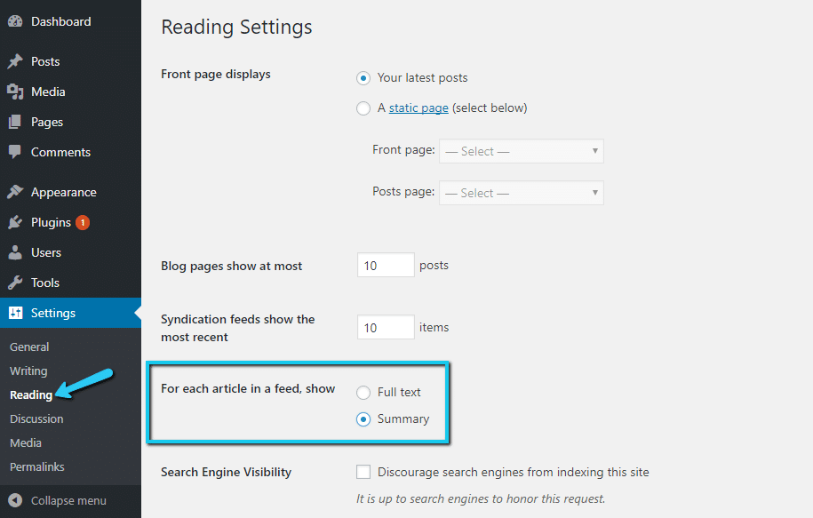 how to enable excerpts for RSS feeds