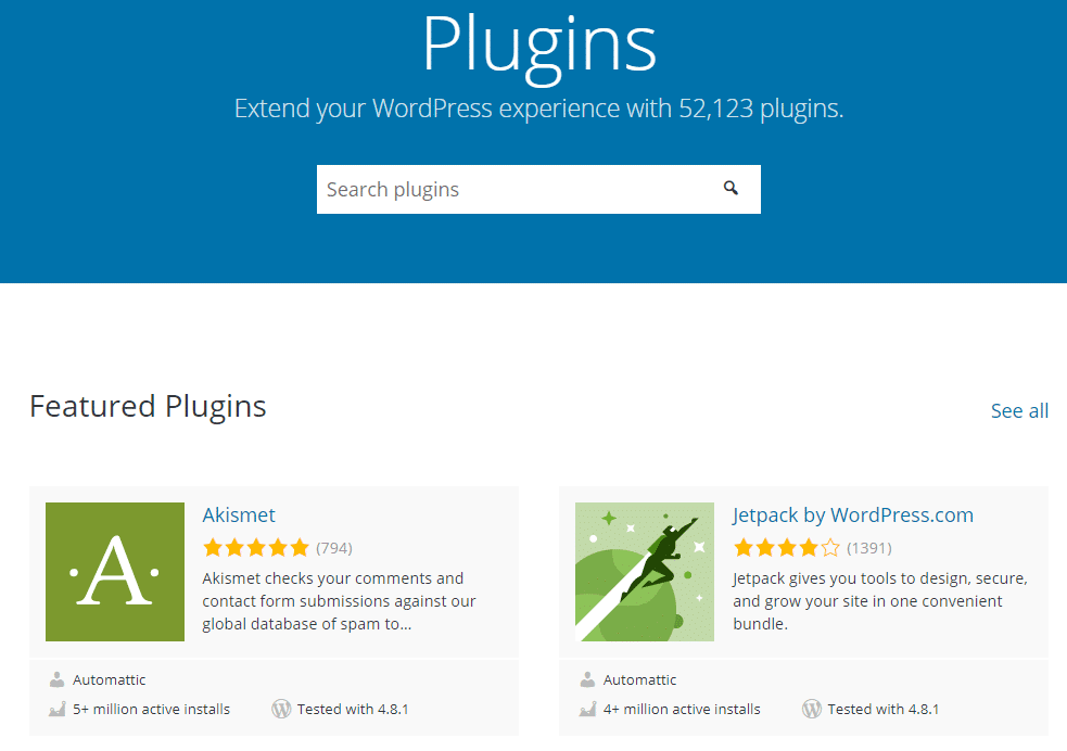 A look at the WordPress.org plugin directory