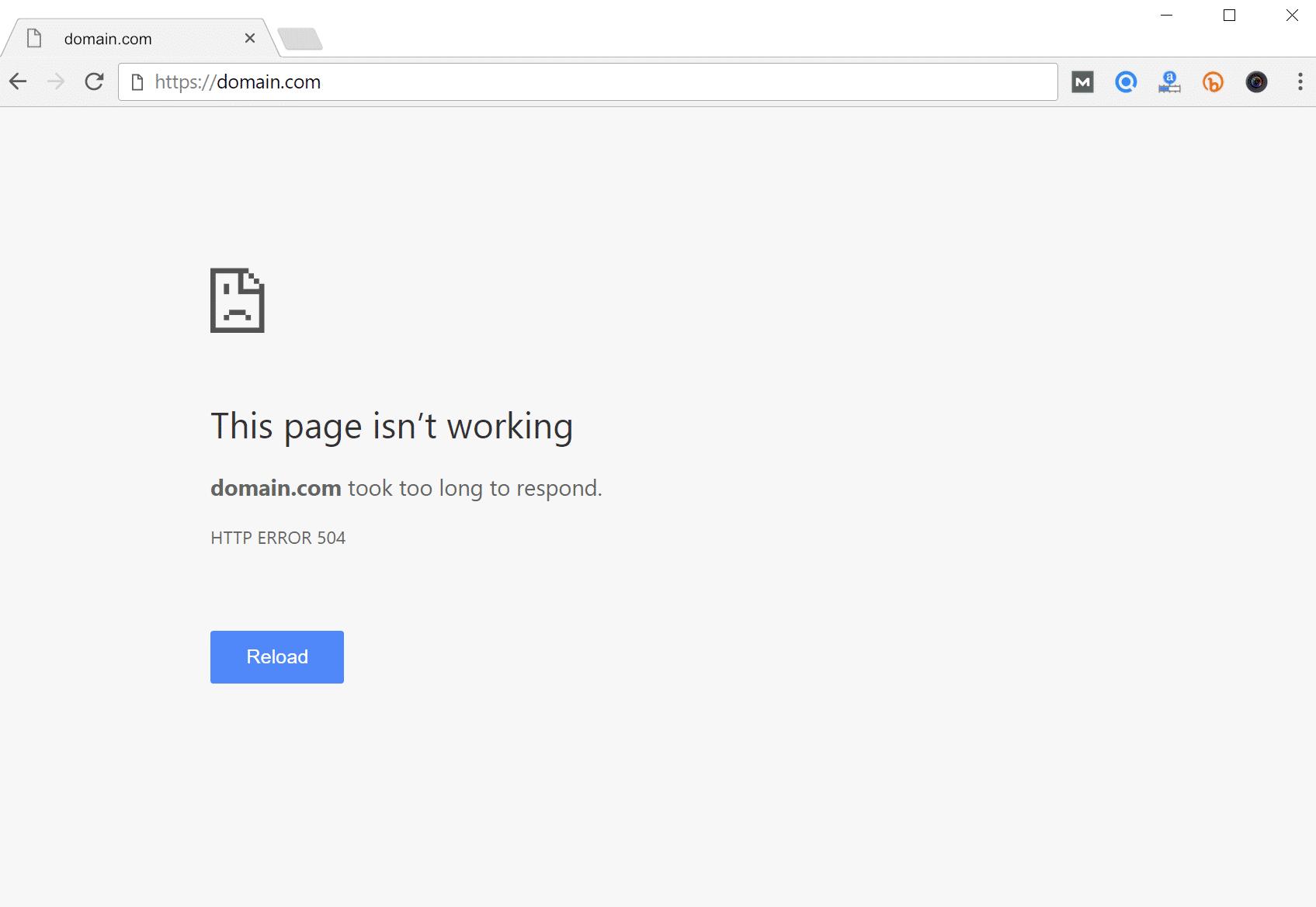Error de tiempo de espera de la puerta de enlace 504 en el navegador