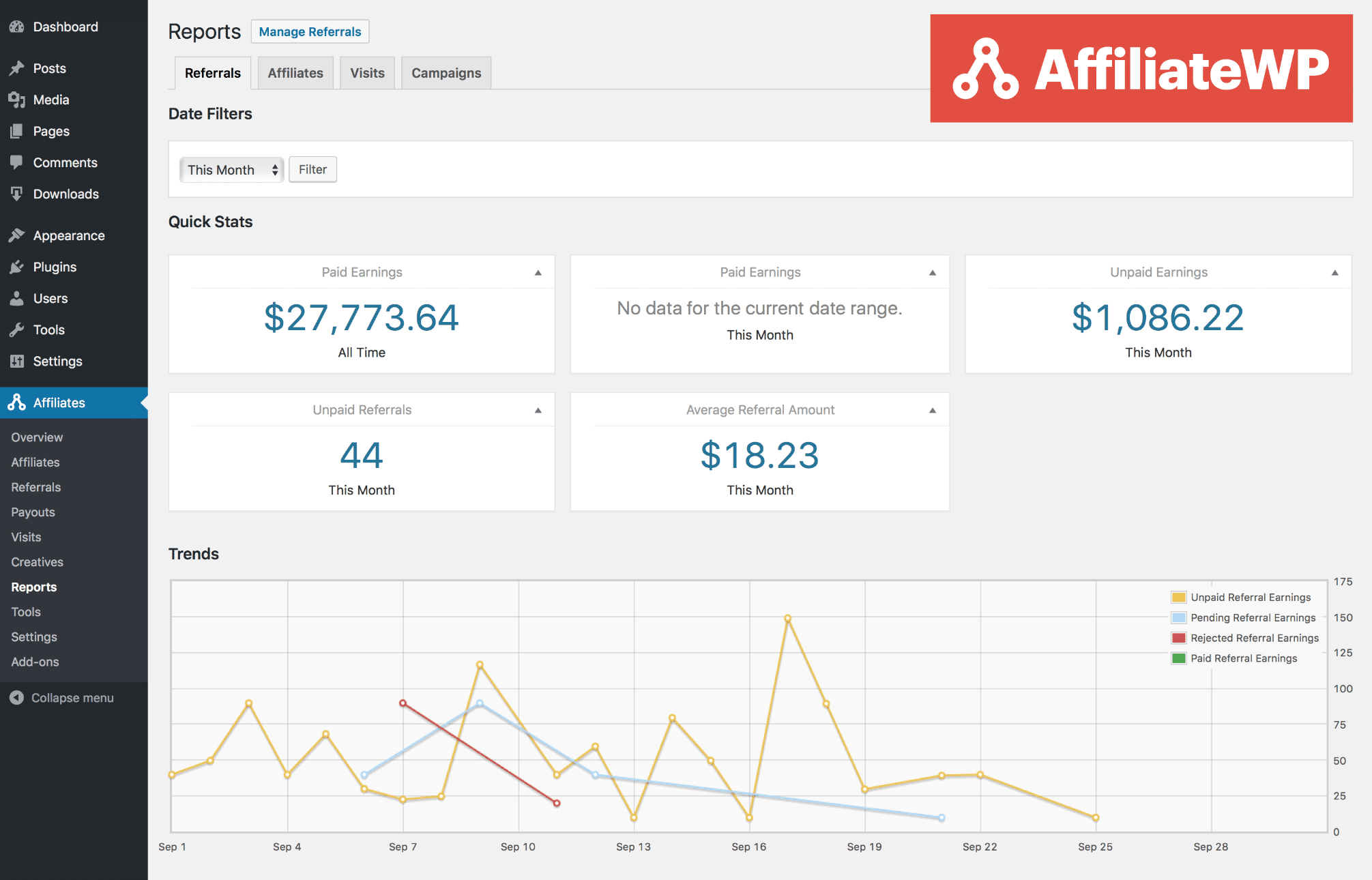 AffiliateWP referrals