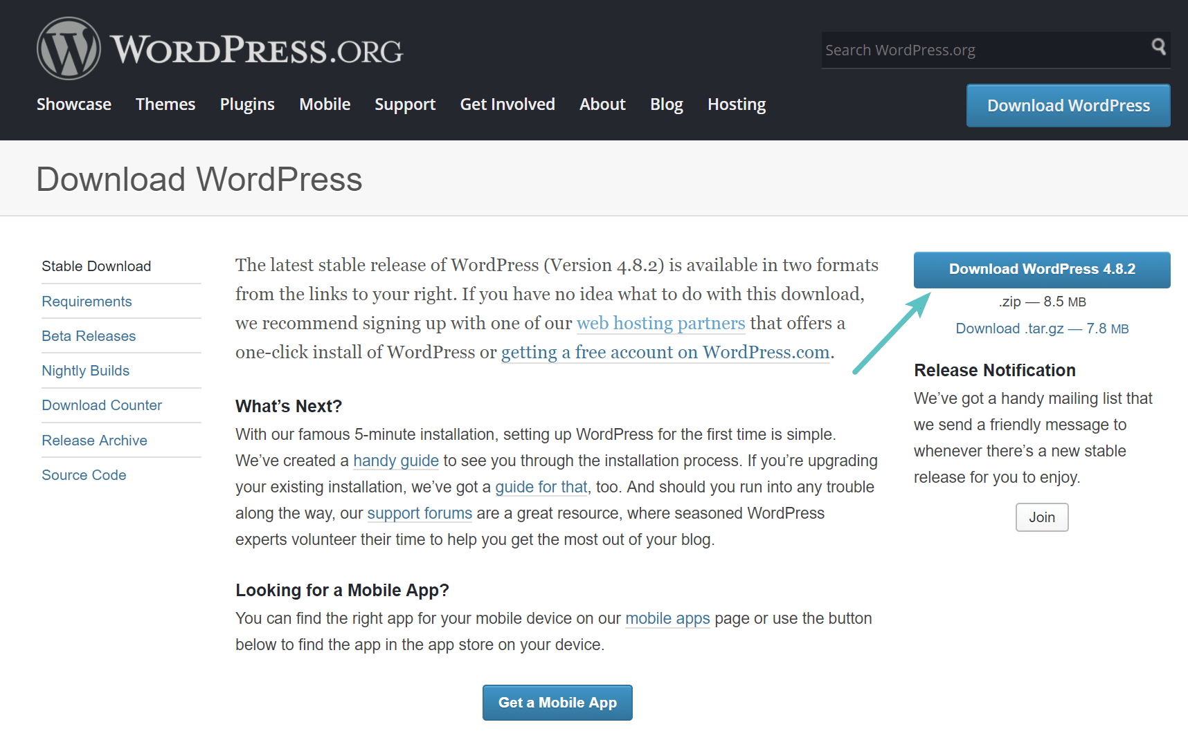 Download latest version of WordPress