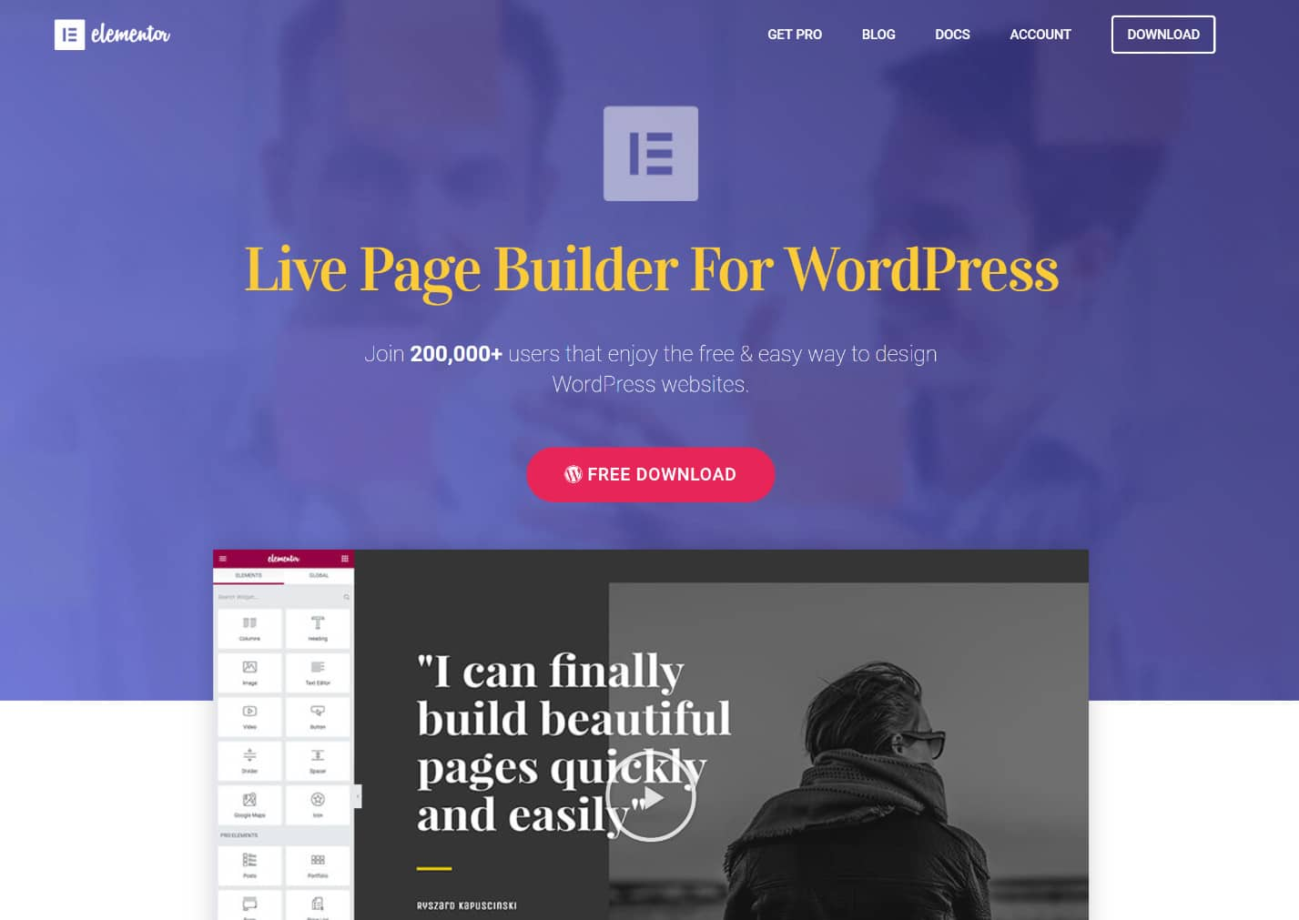 WordPress Elementor page builder plugin