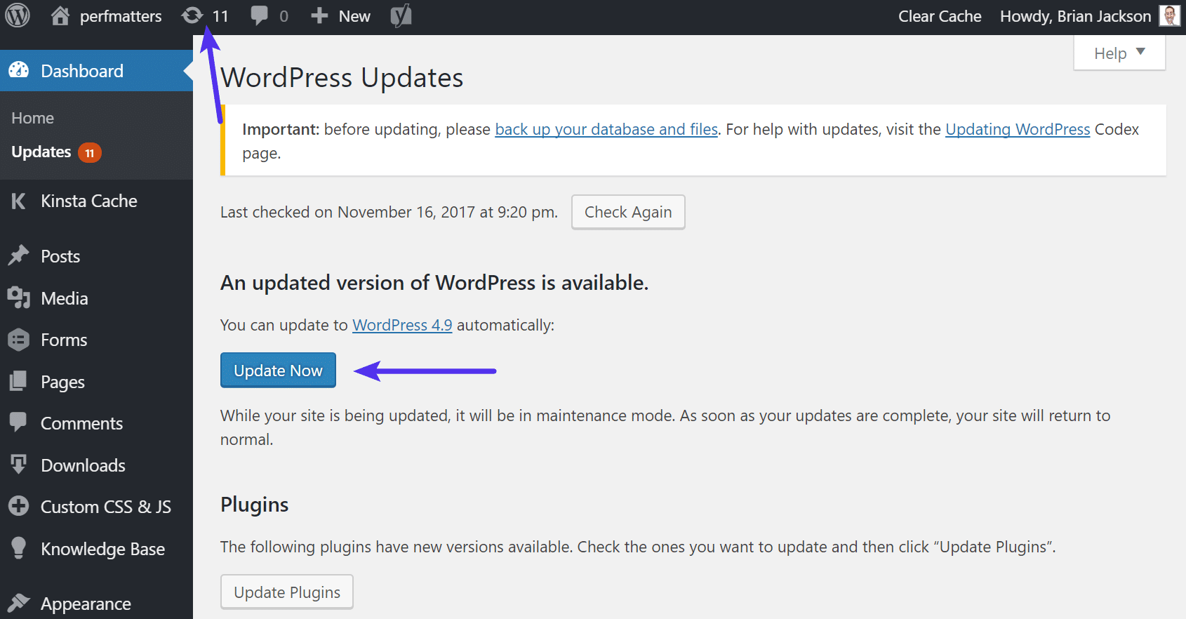Update to WordPress 4.9