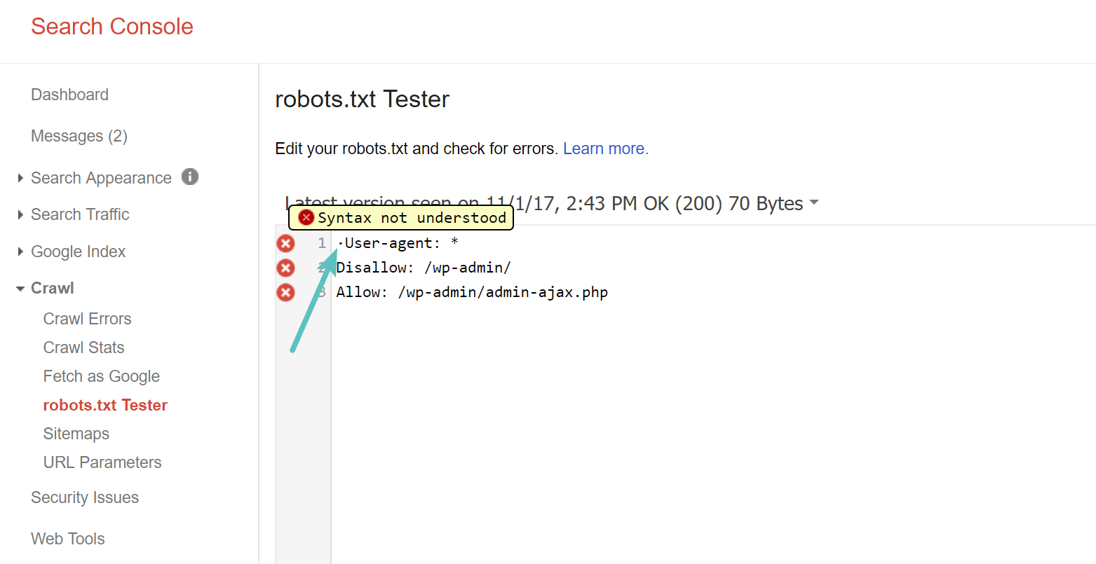 UTF-8 BOM in your robots.txt file