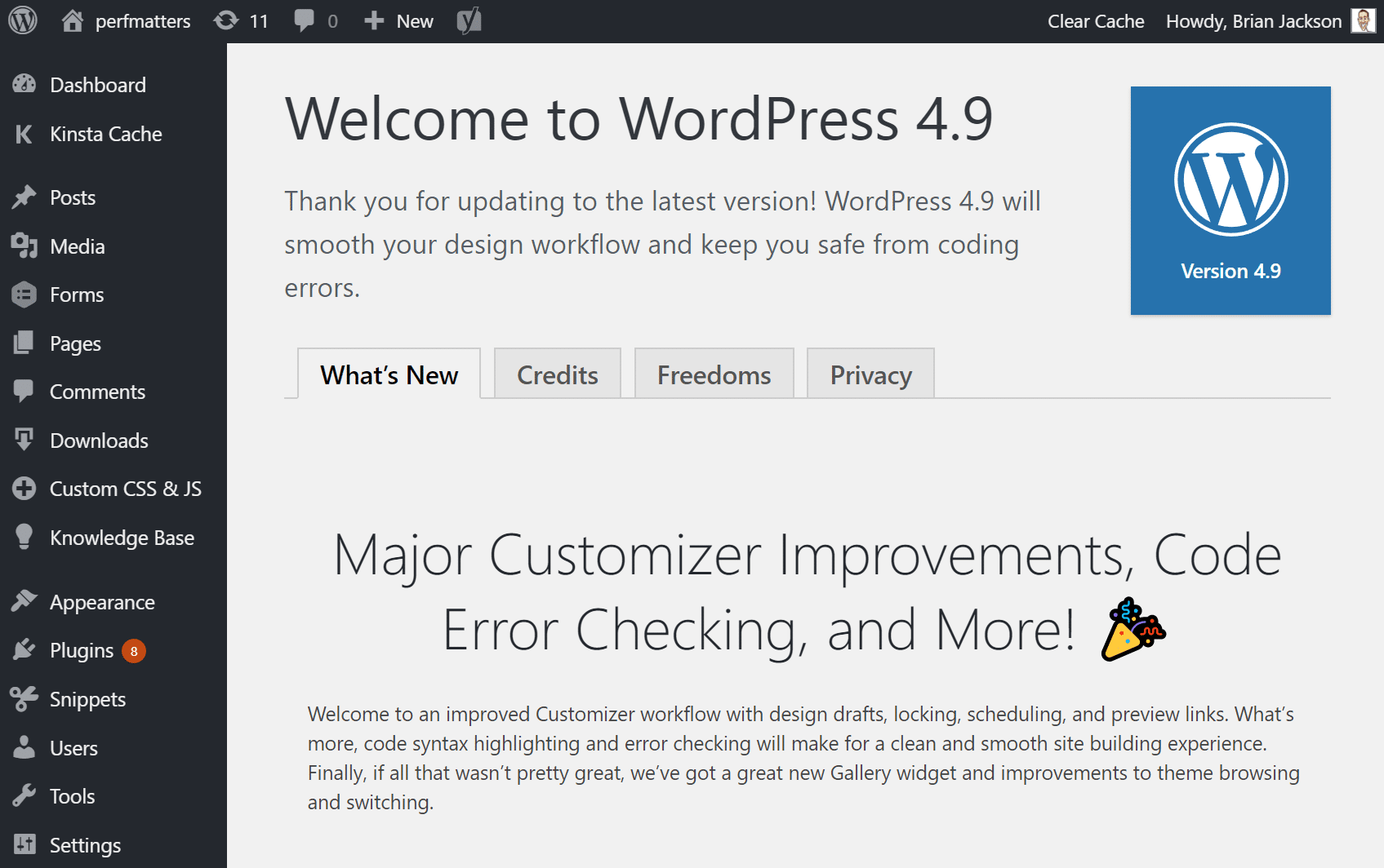 WordPress 4.9 update