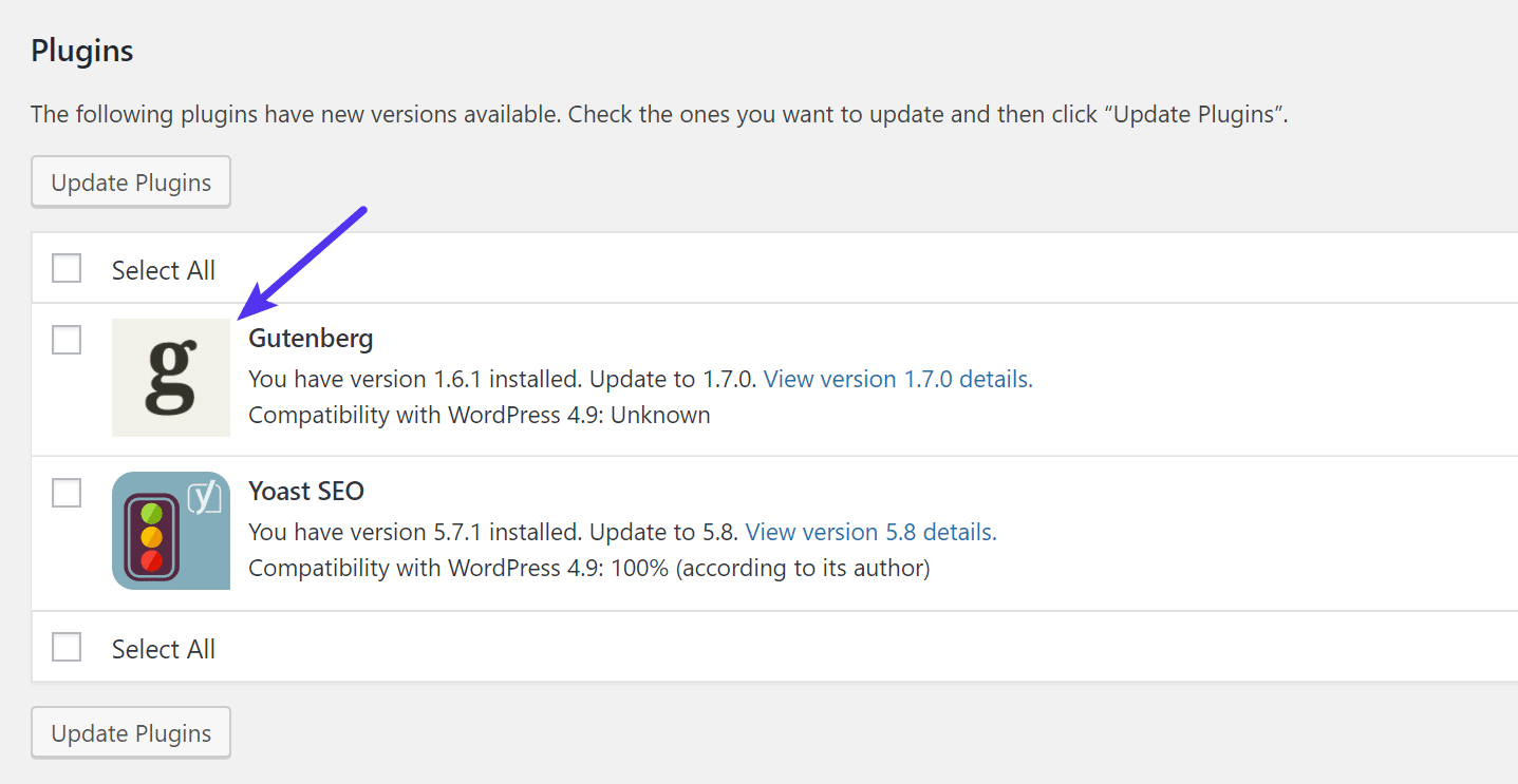 WordPress 4.9 update icons
