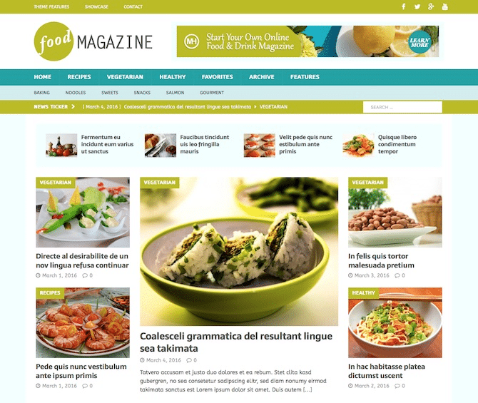 Tema de MH magazine para blogs de comida