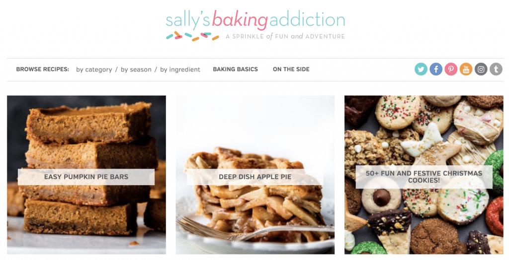 Ejemplo de blog de comida