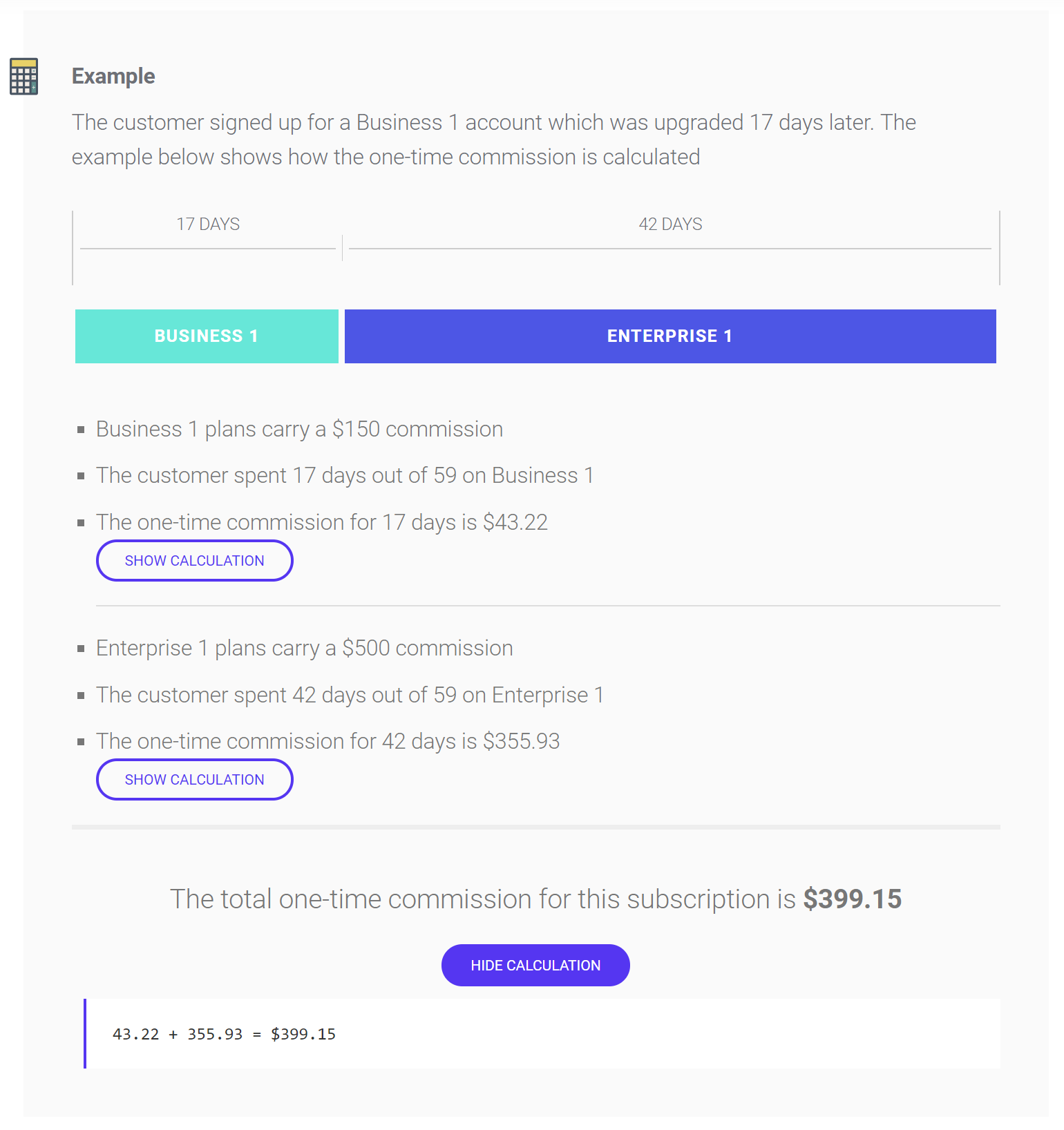 Affiliate payout example