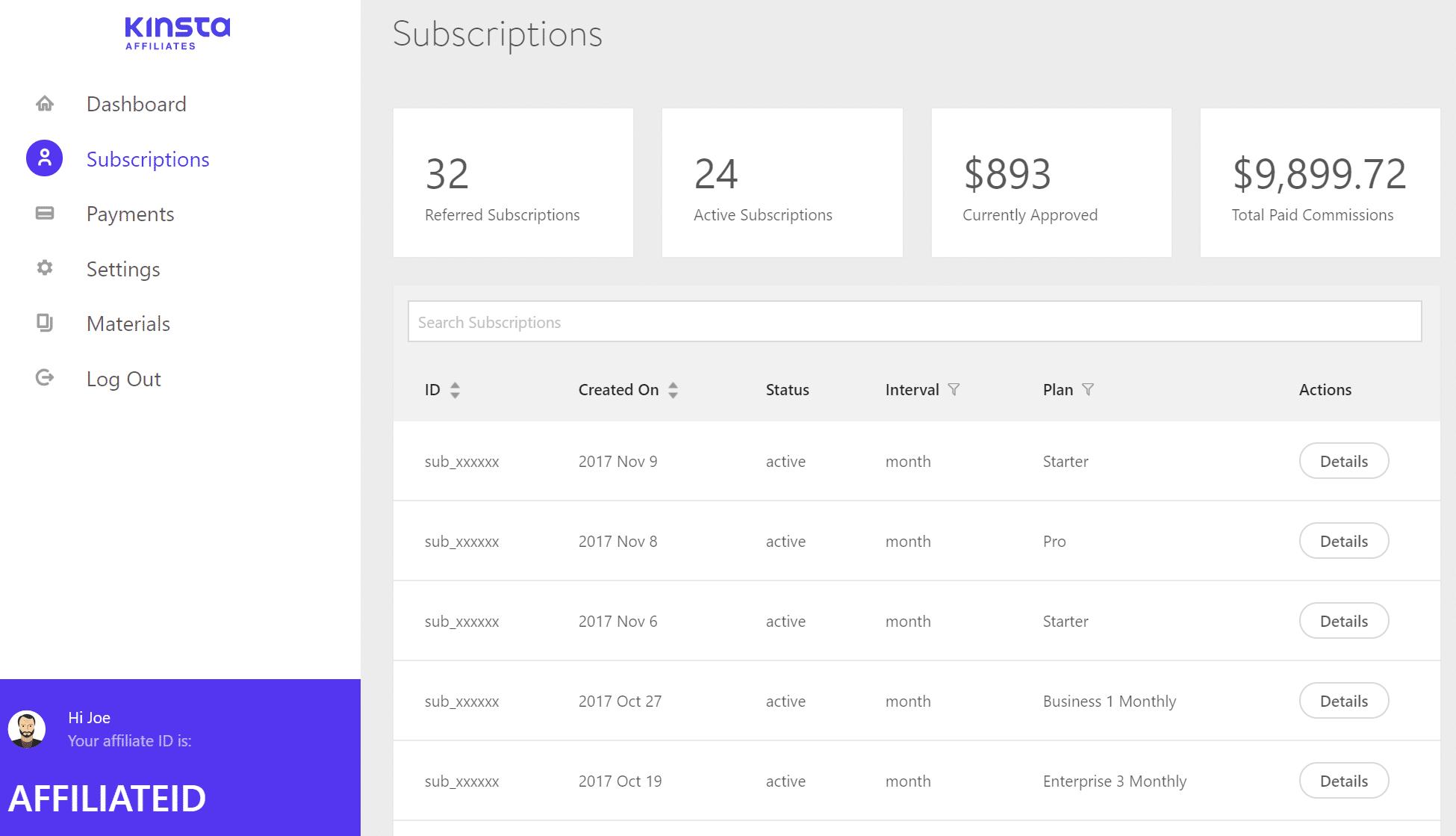 Kinsta affiliate subscriptions