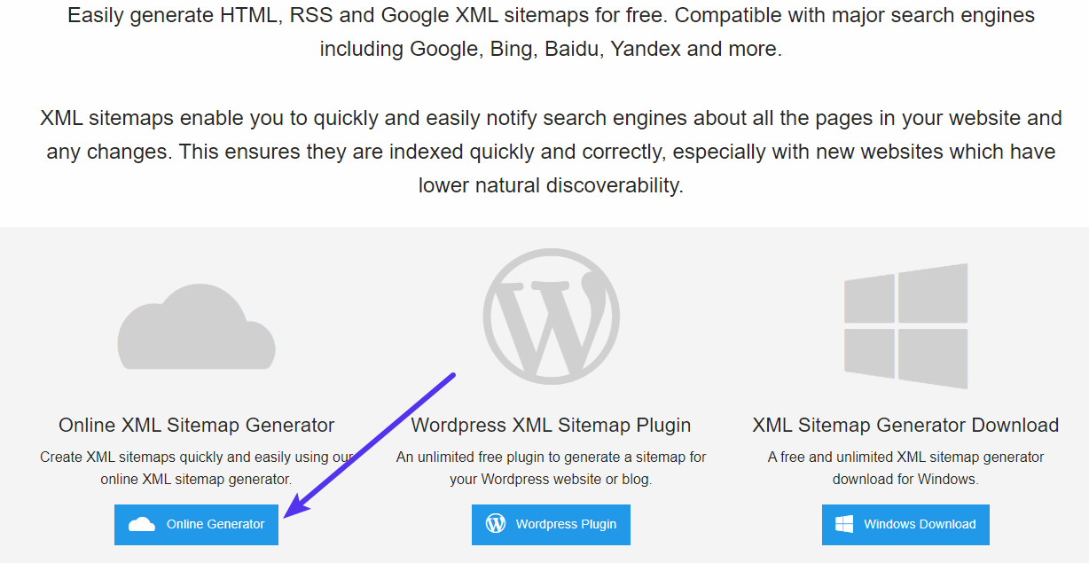 Using XML Sitemap Generator