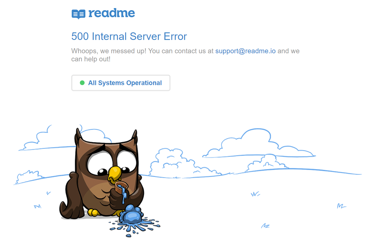 readme 500 internal server error