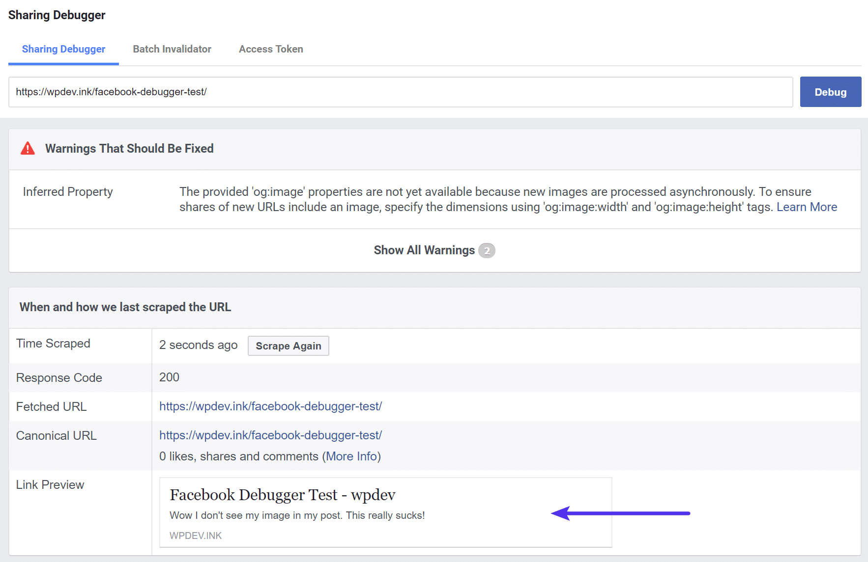 Facebook Debugger - image too small