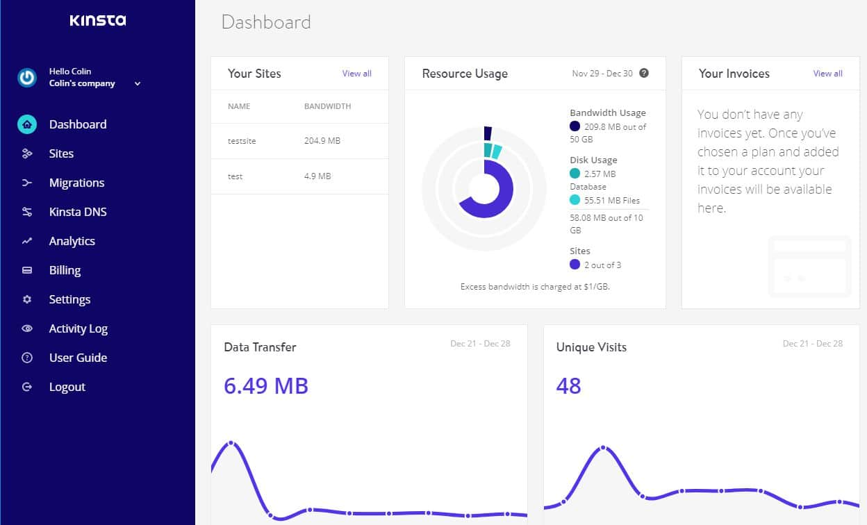 The main Kinsta dashboard, an alternative approach to cPanel