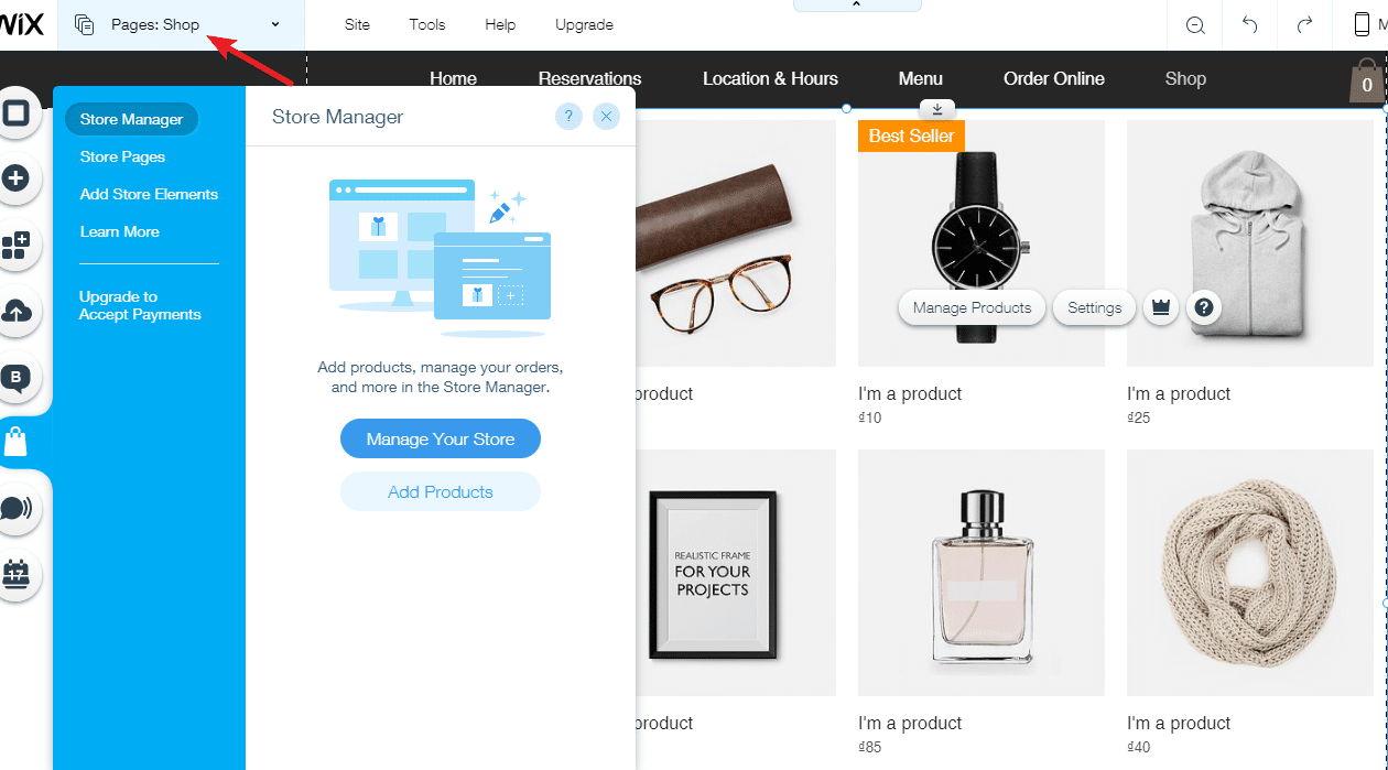 Wix eCommerce store management
