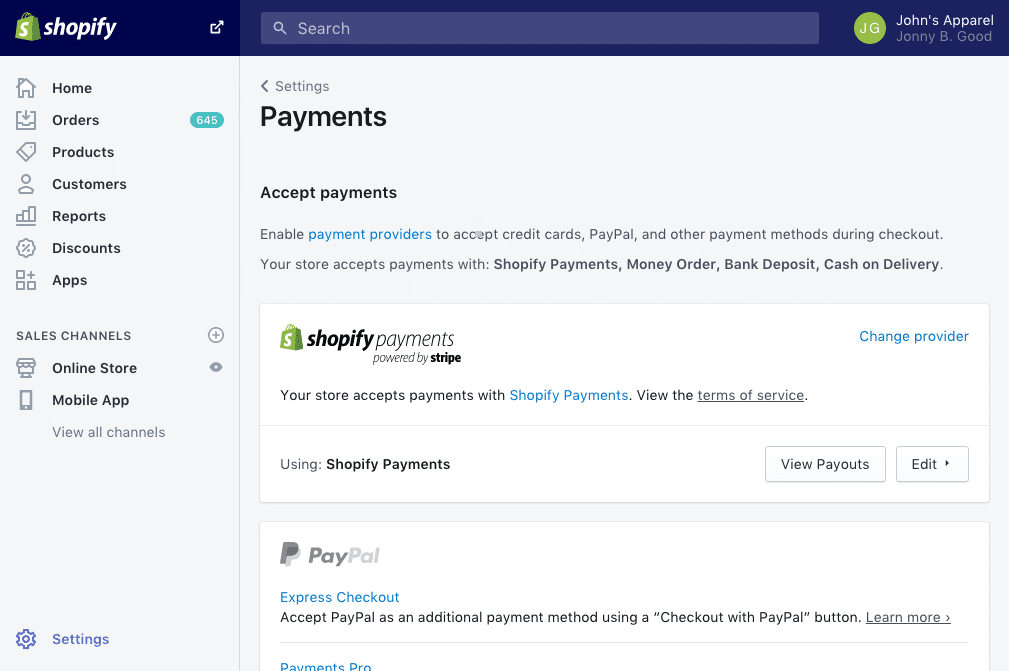 Shopify makes it easy to start accepting payments
