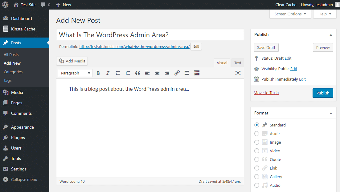 The WordPress editor