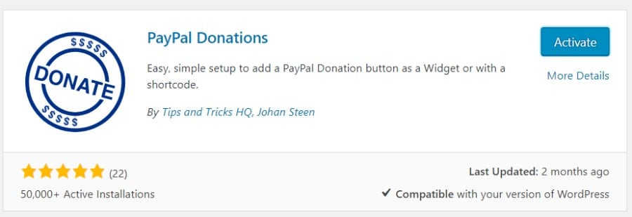 Activate PayPal Donations plugin