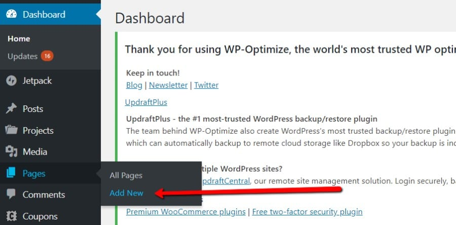 Pages option from WordPress Dashboard with Add New selected