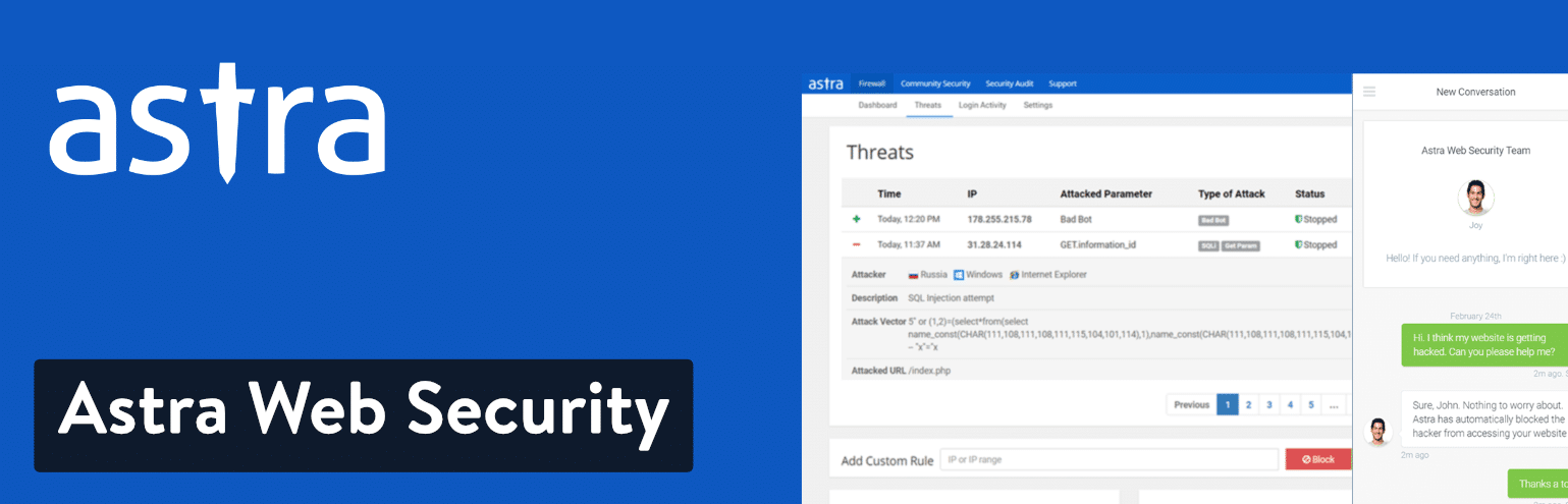 Astra Web Security pour WordPress