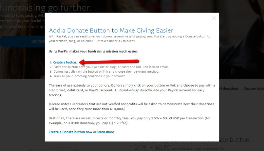 PayPal create button