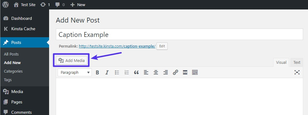 How to add a new image in the WordPress editor