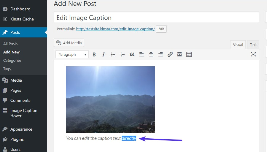 Editing existing WordPress image captions directly in the WordPress editor