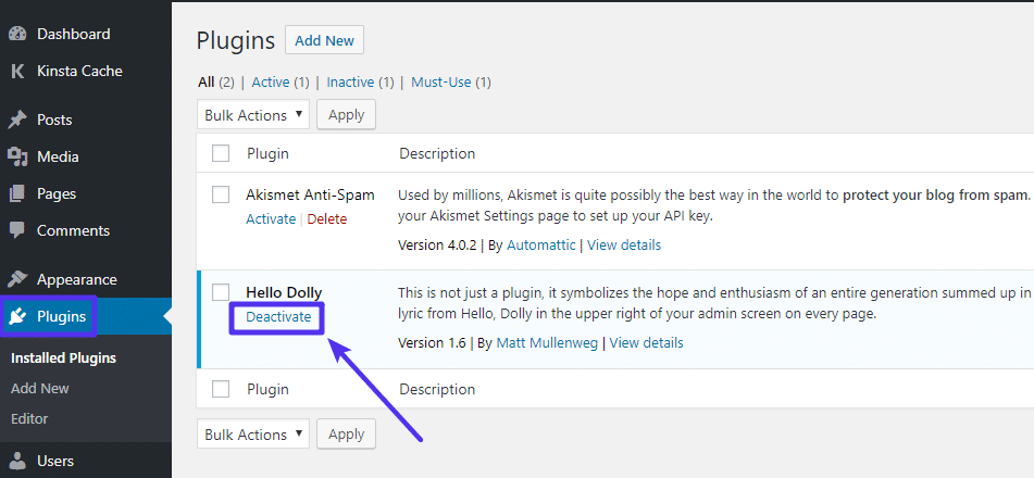 How to disable WordPress plugins from your WordPress dashboard