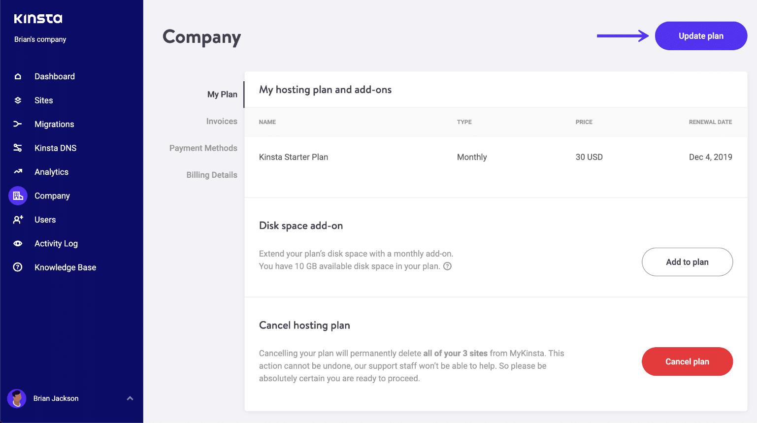 Kinsta update hosting plan