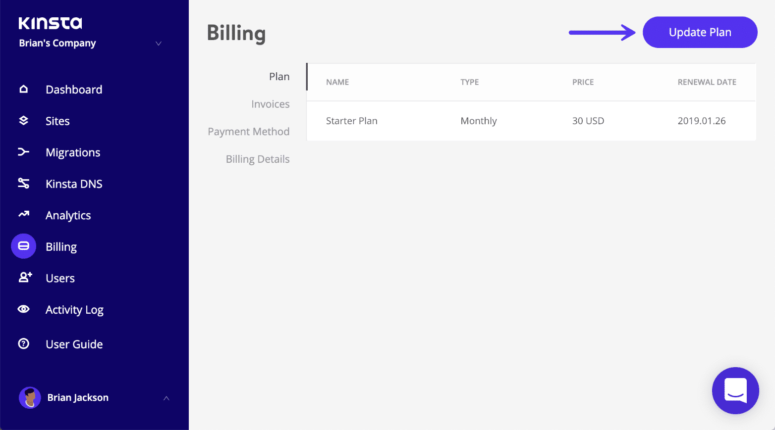 Kinsta billing - update plan