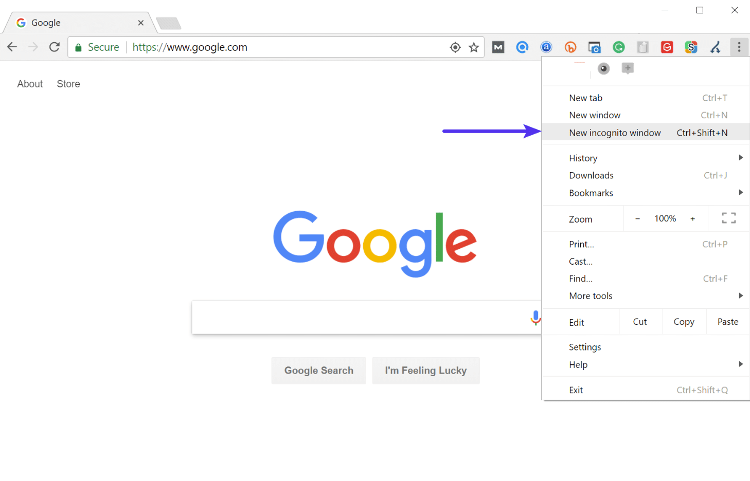 Open Chrome in Incognito mode
