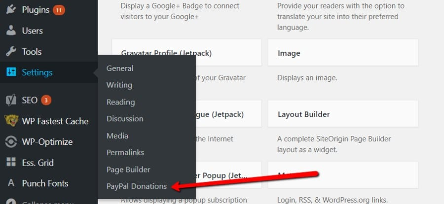 PayPal Donations plugin settings