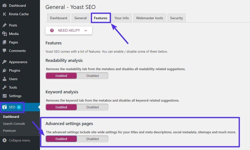 Cómo habilitar la configuración avanzada de Yoast SEO