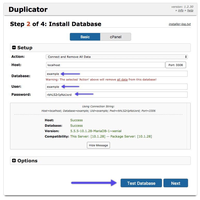 WordPress Duplicator plugin: install database