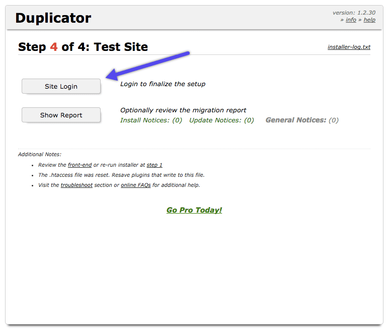 WordPress Duplicator plugin: test site