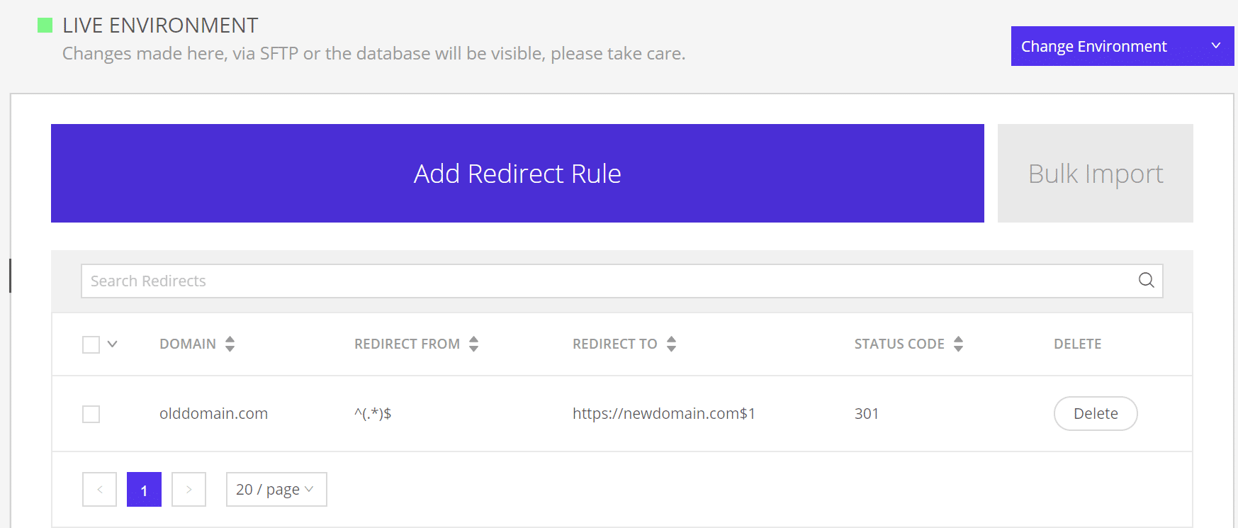 301 redirect at Kinsta
