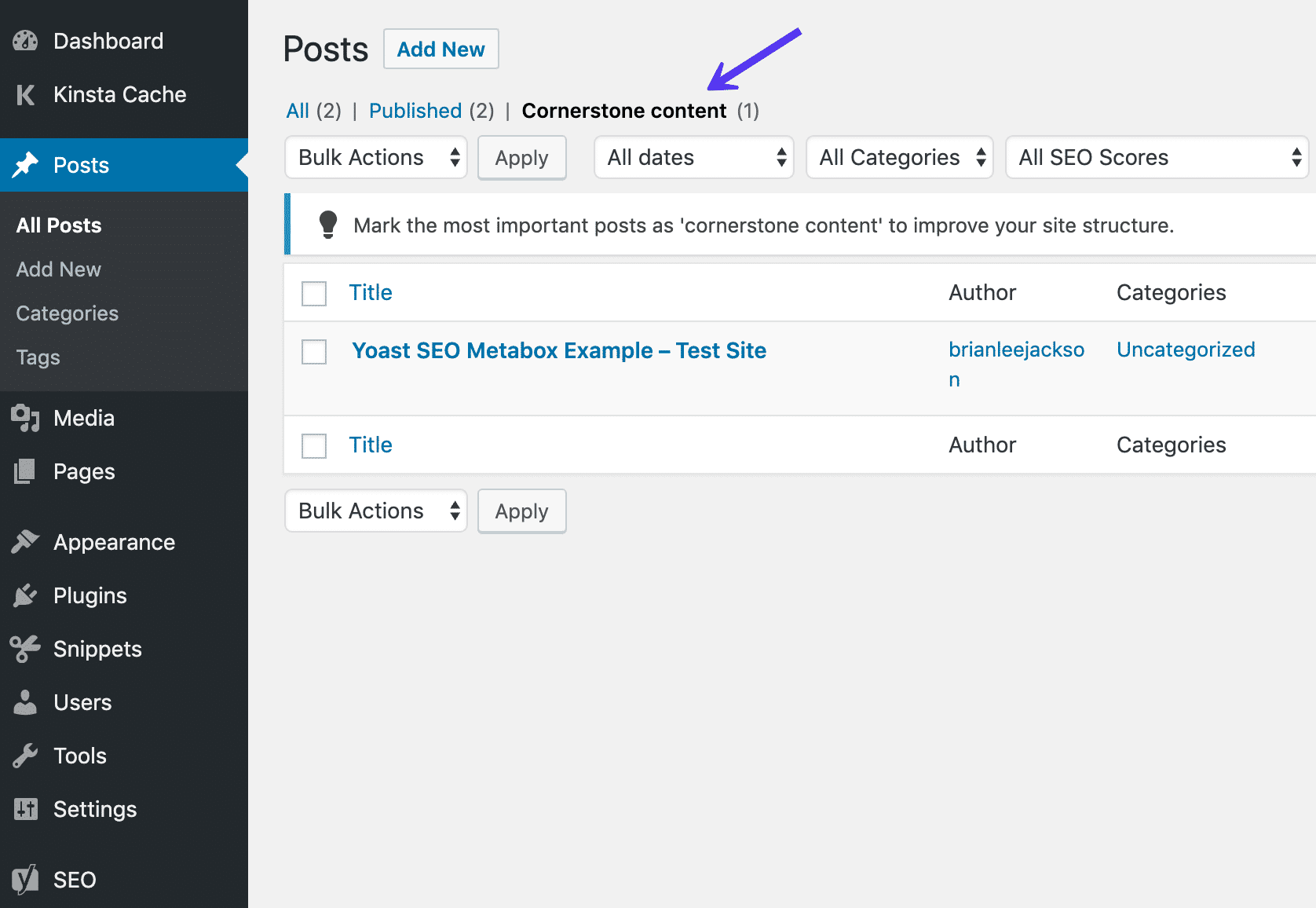 Cornerstone content in post list