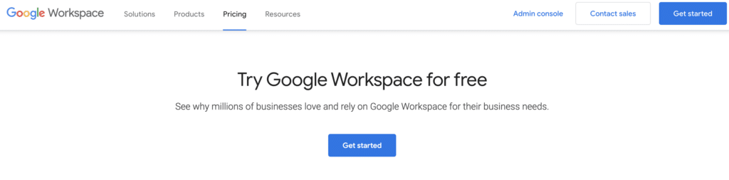 Free trial Google Workspace