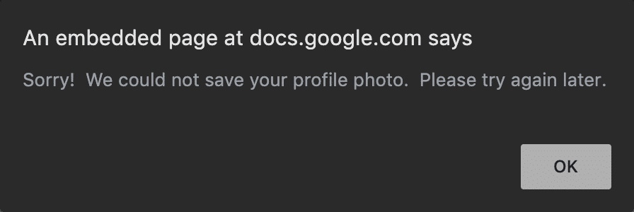 G Suite could not save profile photo