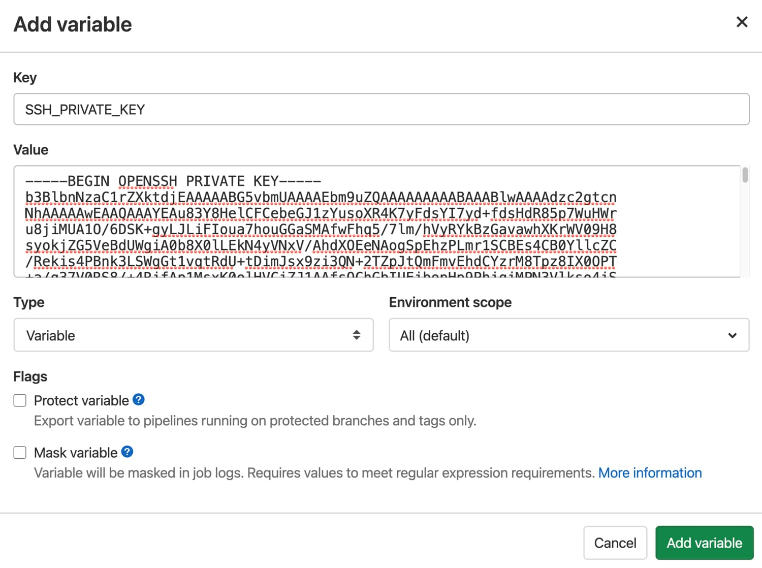 SSH private key variable in GitLab.