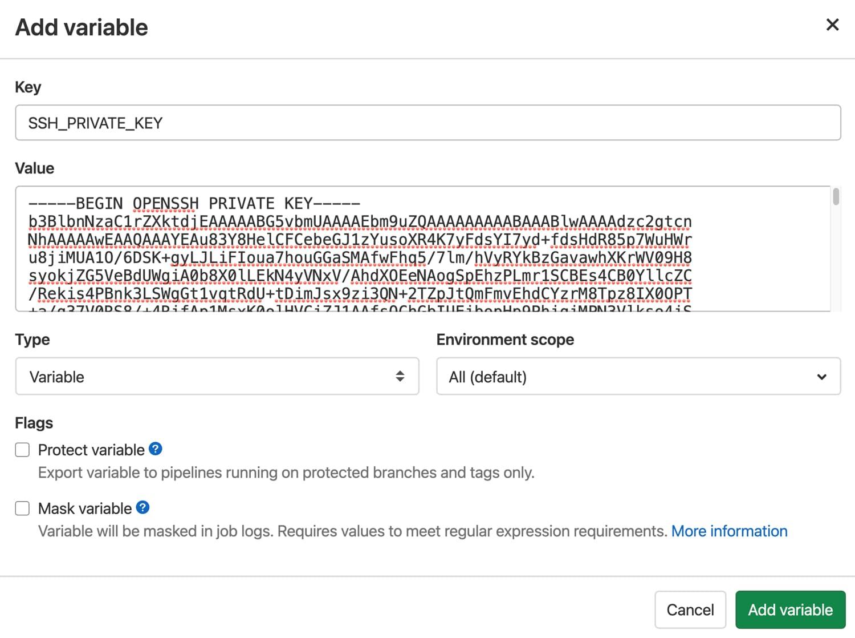 Variable de clave privada de SSH en GitLab.