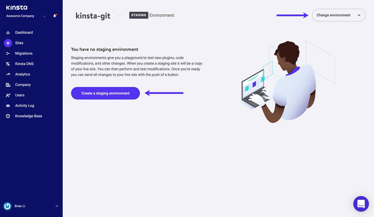 Create a staging environment in MyKinsta.