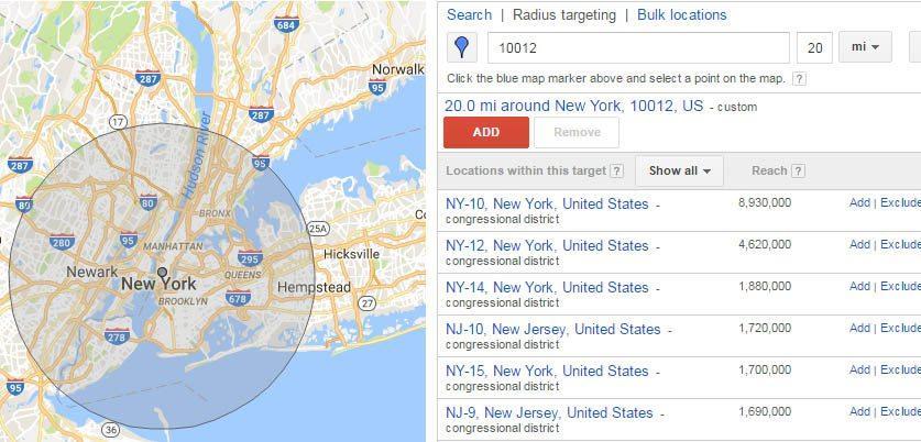 Google AdWords radius targeting
