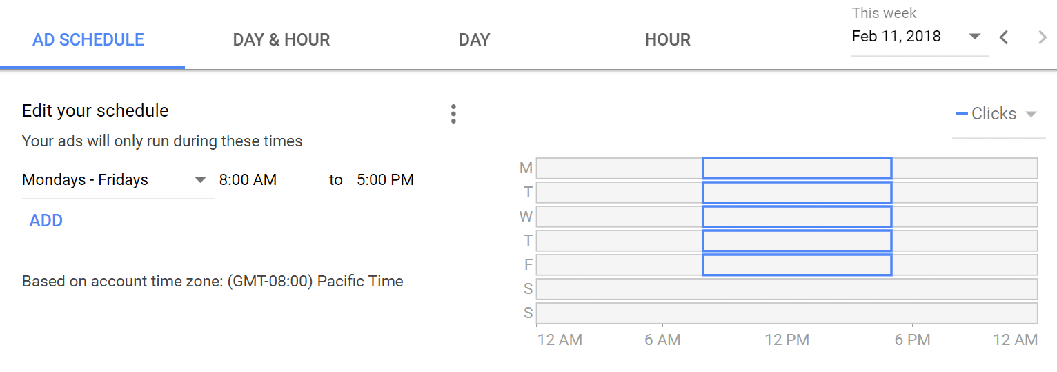 Google AdWords ad schedule