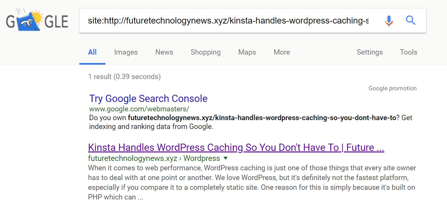 Gestohlene Inhalte werden indexiert