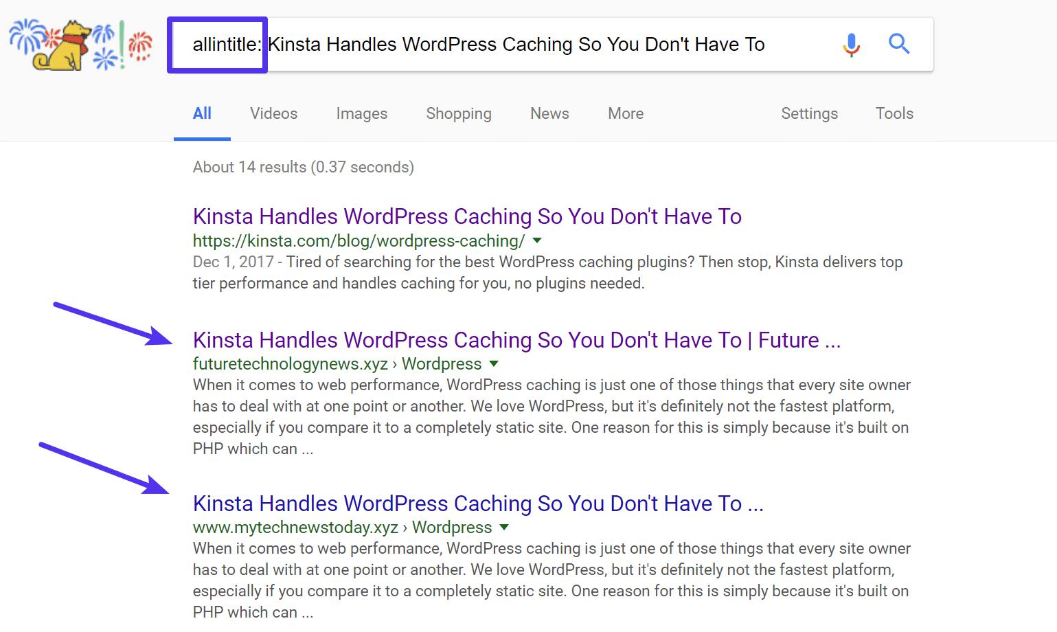 Google mit allintitle tag durchsuchen