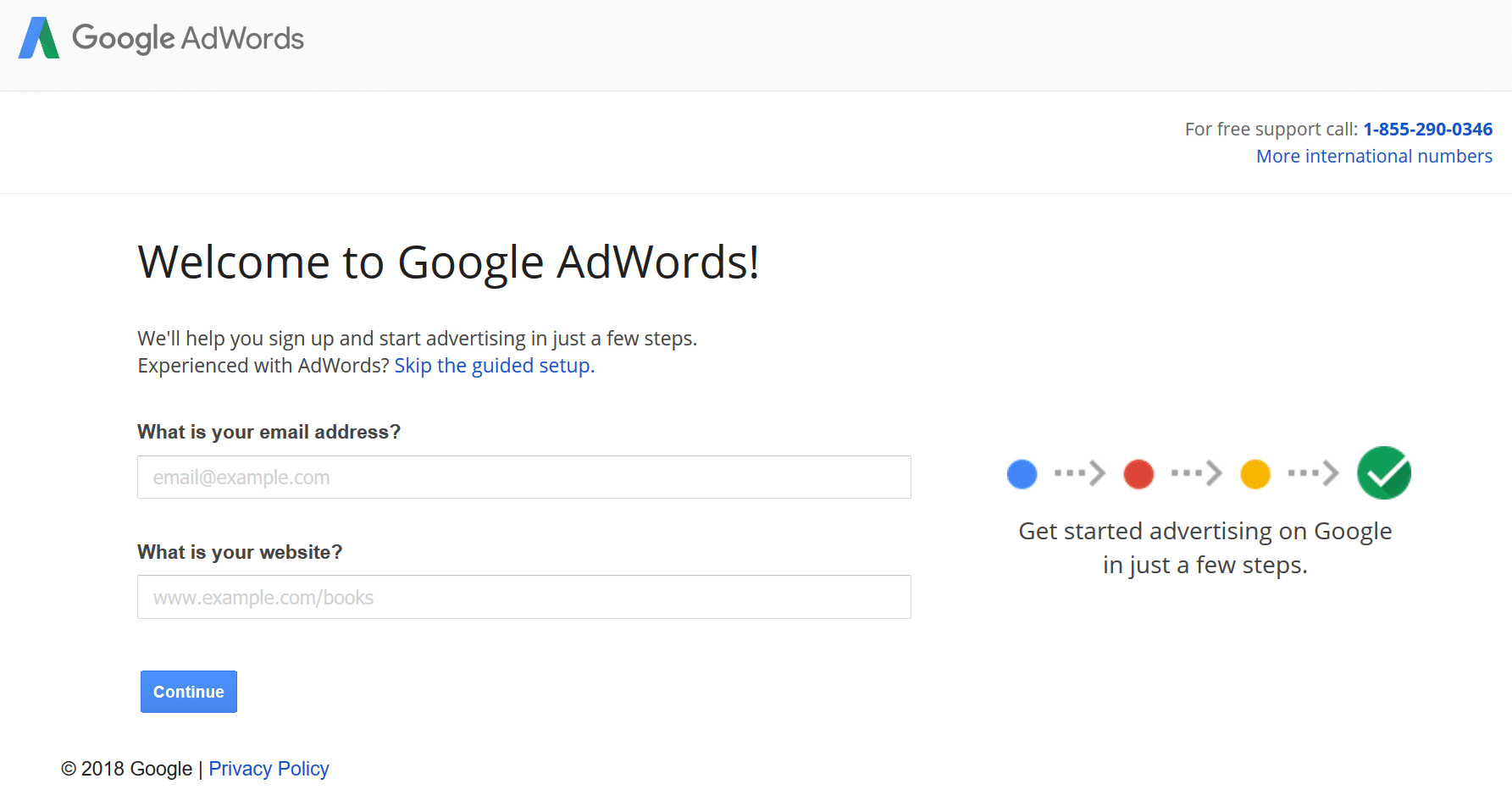 Sign up for Google AdWords